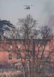 © Licensed to London News Pictures. 04/12/2019. Watford, UK. US Marine One helicopter comes in to land behind The Grove Hotel where NATO leaders are meeting. World leaders are attending a series of events over the two day NATO summit which will mark the 70th anniversary of the alliance of nations. Photo credit: Peter Macdiarmid/LNP