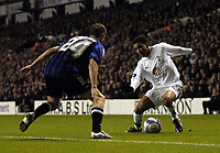 Photo: Olly Greenwood.<br />Tottenham Hotspur v Club Brugge. UEFA Cup. 02/11/2006. Spurs Aaron Lennon trickes Club Brugges Brian Priske