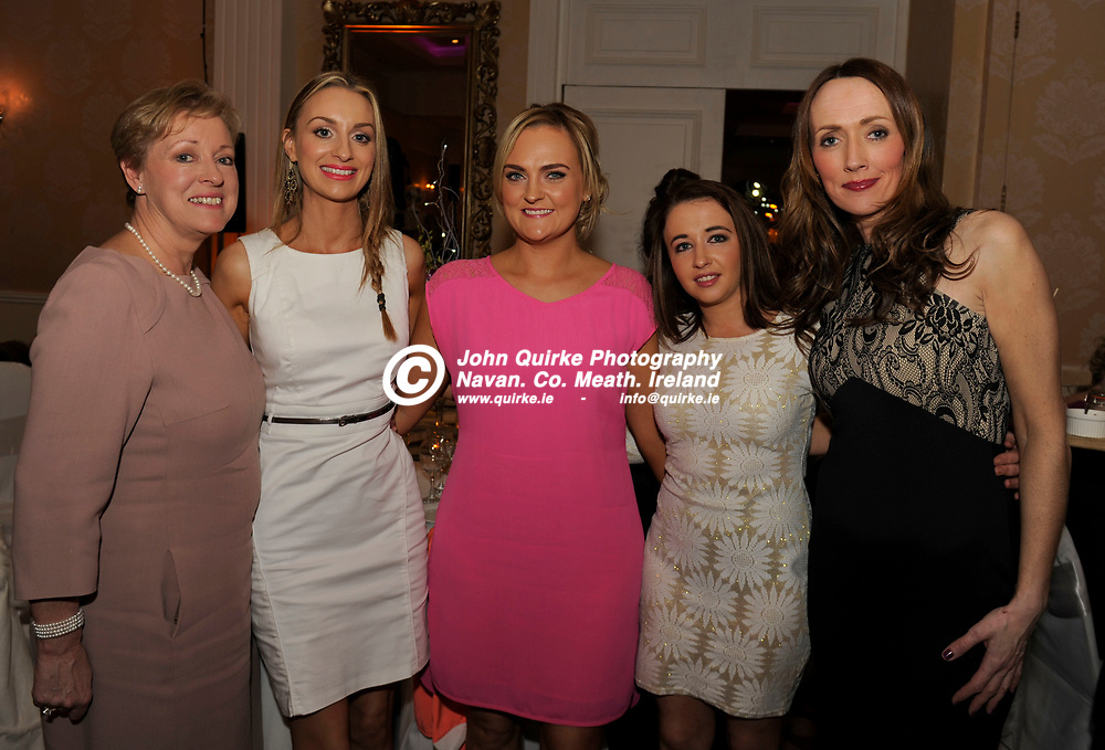 27-03-15. Meath Style Awards 2015 at the Headfort Arms Hotel, Kells.<br /> L to R: Marie Cusack, Aoife Cusack, Nicola Joyce, Amy Casserly and Clara Clarke, Knightsbrook Hotel.<br /> Photo: John Quirke / www.quirke.ie<br /> ©John Quirke Photography, Unit 17, Blackcastle Shopping Cte. Navan. Co. Meath. 046-9079044 / 087-2579454.