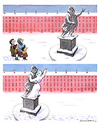 (Children build a snowwoman dancing with a statue)