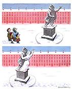 (Children build a snowwoman dancing with a statue)