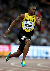 Jamaica's Warren Weir competes in the men's 200m final during day four of the 2017 IAAF World Championships at the London Stadium.