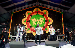 28 April 2013. New Orleans, Louisiana,  USA. .Earth, Wind and Fire, legendary musicians playing the Congo Square stage at the New Orleans Jazz and Heritage Festival. .Photo; Charlie Varley.
