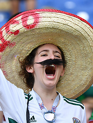 June 23, 2018 - Rostov-on-Don, Russia - A fan of Mexico cheers prior to the 2018 FIFA World Cup Group F match between South Korea and Mexico in Rostov-on-Don, Russia, June 23, 2018. (Credit Image: © Li Ga/Xinhua via ZUMA Wire)