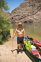 Portrait of a canoer in The Black Canyon, Nevada.