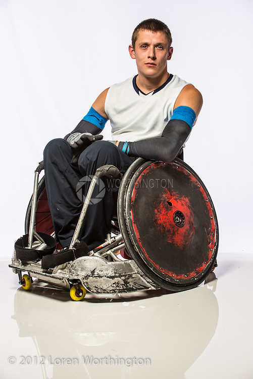 Portrait of Seth McBride, wheelchair rugby player from Portland Pounders. Home state is Alaska.
