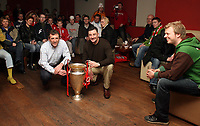 Photo: Paul Thomas.<br /> Photography of Norwegian Liverpool supporters at Anfield. 04/03/2007.<br /> <br /> Ex Liverpool players John Aldridge and Alan Kennedy (White) pose for some photo's in-front of some Norwegin Liverpool Supporters Club members in Aldridges pub, Liverpool.