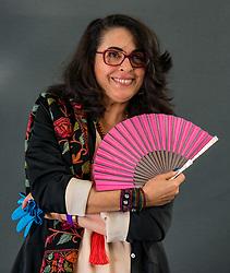 Pictured: Edinburgh International Book Festival, Edinburgh, Scotland, United Kingdom, 24 August 2019. Pictured: Anissa M Bouziane, author, filmmaker, artist, talks about her book 'Dune Song' at the book festival today.<br /> Sally Anderson | EdinburghElitemedia.co.uk