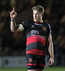 Dragons' Tyler Morgan signals to his team mates.<br /> <br /> Photographer Simon Latham/Replay Images<br /> <br /> Anglo-Welsh Cup Round Round 4 - Dragons v Worcester Warriors - Friday 2nd February 2018 - Rodney Parade - Newport<br /> <br /> World Copyright © Replay Images . All rights reserved. info@replayimages.co.uk - http://replayimages.co.uk