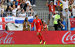 England's Dele Alli celebrates scoring his side's second goal of the game during the FIFA World Cup, Quarter Final match at the Samara Stadium.