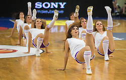 Cheerleaders Ladies perform during friendly match between National teams of Slovenia and Ukraine for Eurobasket 2013 on July 26, 2013 in Dvorana Komunalnega centra, Domzale, Slovenia. Slovenia defeated Ukraine 74-46. (Photo by Vid Ponikvar / Sportida.com)