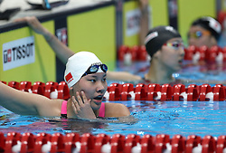 JAKARTA, Aug. 19, 2018  Liu Yaxin (L) of China checks on the results after Women's 200m Backstroke Final in the 18th Asian Games in Jakarta, Indonesia, Aug. 19, 2018. Liu won the gold medal. (Credit Image: © Fei Maohua/Xinhua via ZUMA Wire)