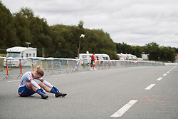 Lizzy Banks (GBR) gasps for breath after the 2020 UEC Road European Championships - Elite Women ITT, a 25.6 km individual time trial in Plouay, France on August 24, 2020. Photo by Sean Robinson/velofocus.com