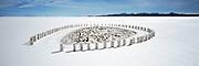 Stacked Salt Bricks on Salar de Uyuni salt flats, Potosi, Bolivia. The Salar de Uyuni are the worlds largest salt flats.