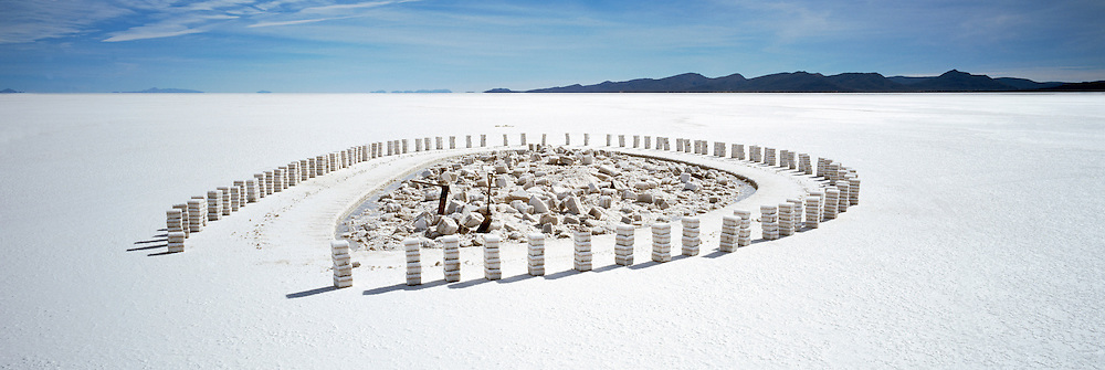 Stacked Salt Bricks on Salar de Uyuni salt flats, Potosi, Bolivia. The Salar de Uyuni are the worlds largest salt flats.
