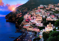 """""""Sunrise breaking through the clouds over peaceful Positano""""…<br /> <br /> There was only one occasion that I was really able to pre-plan taking photos at sunrise and that was during the last day of three in Positano.  It takes much planning, logistics, and familiarity to figure the best locations and the proper angles and positions of the sun.  My third morning was ideal and fortuitous as it began raining about 10:00 am which gave me perfect clouds for sunrise, finally ending with a very cold wind just in time for sunset.  This image is one of the rare photos of a slumbering Positano in the dewing morning around 6:09 am at the end of May….the beginning of peak tourist season.  By 8:00 am, this tiny seaside village is bustling with tourists and shop owners, and restaurateurs trying to satisfy every need.  All in all, Positano was by far the plushest of all the locations I visited in Italy, and I was blessed to witness everything in full bloom."""
