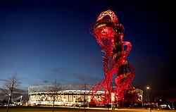 A general view of the ground and the ArcelorMittal Orbit before the Premier League match at the London Stadium, London.
