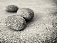 Three rocks from the sea in Del Mar, California.  They brought to mind the simplicity of Zen.
