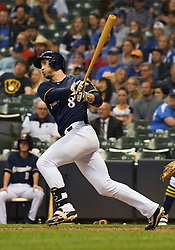 May 8, 2018 - Milwaukee, WI, U.S. - MILWAUKEE, WI - MAY 08: Milwaukee Brewers First base Ryan Braun (8) makes contact during a MLB game between the Milwaukee Brewers and Cleveland Indians on May 8, 2018 at Miller Park in Milwaukee, WI. The Brewers defeated the Indians 3-2.(Photo by Nick Wosika/Icon Sportswire) (Credit Image: © Nick Wosika/Icon SMI via ZUMA Press)