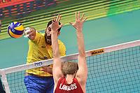 Guerra Evandro BRA, Jake Langlois USA.<br /> Torino 28-09-2018 Pala Alpitour <br /> FIVB Volleyball Men's World Championship <br /> Pallavolo Campionati del Mondo Uomini <br /> Third round<br /> Brasile - Usa / Brazil - USA<br /> Foto Antonietta Baldassarre / Insidefoto