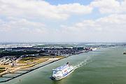 Nederland, Zuid-Holland, Hoek van Holland, 10-06-2015; veerboot Hollandica van Stena Line op de Nieuwe Waterweg verlaat de haven van Rotterdam<br /> Ferry Hollandica (Stena Line) leaves Port of Rotterdam.<br /> <br /> luchtfoto (toeslag op standard tarieven);<br /> aerial photo (additional fee required);<br /> copyright foto/photo Siebe Swart