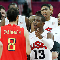 12 August 2012: Spain Jose Calderon is congratulated by Chris Paul at the end of the 107-100 Team USA victory over Team Spain, during the men's Gold Medal Game, at the North Greenwich Arena, in London, Great Britain.
