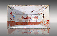 """Reconstruction of  the inside of the Greek Tomb of  the Diver  [La Tomba del Truffatore] from the Greek city of Poseidonia which became Roman Paestum. .   The rear panel is from one of the long sides of the tomb and shows a symposium of men lying on couches facing low tables on which goblets have been placed.  The abondon experienced at the Synposium was one way in which the dead could access the next world .  The fresco on the lid of the tomb and shows a  diving from a column into water. The column represents the border of thye known world and therefore the limit of man's knowledge.  The dive represents the passage form this world to the next. The tomb is painted with the true fresco technique and its importance lies in being """"the only example of Greek painting with figured scenes dating from the Orientalizing, Archaic, or Classical periods to survive in its entirety. Paestrum, Andriuolo.  (480-470 BC  ) .<br /> <br /> If you prefer to buy from our ALAMY PHOTO LIBRARY  Collection visit : https://www.alamy.com/portfolio/paul-williams-funkystock - Scroll down and type - Paestum Fresco - into LOWER search box. {TIP - Refine search by adding a background colour as well}.<br /> <br /> Visit our ANCIENT GREEKS PHOTO COLLECTIONS for more photos to download or buy as wall art prints https://funkystock.photoshelter.com/gallery-collection/Ancient-Greeks-Art-Artefacts-Antiquities-Historic-Sites/C00004CnMmq_Xllw"""