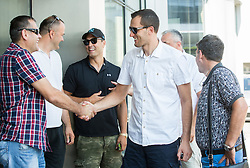Slavko Kotnik, Mario Kraljevic, Marko Milic, Smiljan Pavic during press conference after Sani Becirovic, Slovenian Basketball player ended his a long and successful career and started as Coach Assistant in Panathinaikos, on July 22, 2015 in Ljubljana, Slovenia. Photo by Vid Ponikvar / Sportida