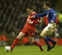 Photo. Aidan Ellis.<br /> Liverpool v Everton.<br /> FA Barclaycard Premiership.<br /> 31/01/2004.<br /> Liverpool's Steve Finnan and Kevin Kilbane of Everton