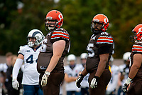 KELOWNA, BC - SEPTEMBER 8:  Daniel Townsend #66 and Karn Sidhu #95 stand on the field against the Langley Rams  at the Apple Bowl on September 8, 2019 in Kelowna, Canada. (Photo by Marissa Baecker/Shoot the Breeze)