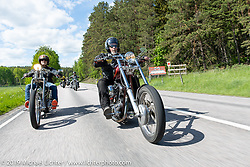 Ola Lundqvist riding his 1968 Harley-Davidson Shovelhead long Swedish chopper on the Twin Club ride from their club house in Norrtälje after their annual Custom Bike Show. Sweden. Sunday, June 2, 2019. Photography ©2019 Michael Lichter.