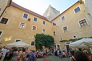 "Gars am Kamp, Lower Austria. Kunstraum Buchberg at Buchberg castle. Opening of the permanent installation ""cinéma"" (2014) by Dorit Margreiter.<br /> Speech by Dieter Bogner."