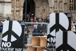 London, UK. 3 May, 2019. Campaigners from Campaign For Nuclear Disarmament (CND), Stop the War Coalition, the Peace Pledge Union, the Quakers and other faith groups protest opposite Westminster Abbey as guests leave a National Service of Thanksgiving to mark fifty years of the Continuous at Sea Deterrent (CASD) attended by dignitaries including the Duke of Cambridge and the newly appointed Defence Secretary Penny Mordaunt.