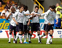 Photo. Jed Wee, Digitalsport<br /> NORWAY ONLY<br /> <br /> Wolverhampton Wanderers v Tottenham Hotspurs, FA Barclaycard Premiership, 15/05/2004.<br /> Spurs' Robbie Keane (C) scores against the club that gave him his break in football and is muted in his celebrations.