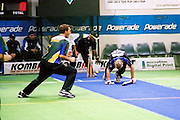 Australian Under 19 Boys celebrate a wicket against South Africa. <br /> 2003 Indoor Cricket World Under 19 Championships, Christchurch, New Zealand