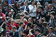 Die SCRJ Fans jubeln nach dem 3:1 im Playoff-Final Spiel 6 der NLB zwischen den SC Rapperswil-Jona Lakers und dem SC Langenthal, am Sonntag, 02. April 2017, in der St. Galler Kantonalbank Arena Rapperswil-Jona. (Thomas Oswald)