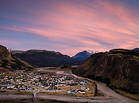 NATIONAL PARK LOS GLACIARES, ARGENTINA - CIRCA FEBRUARY 2019: Panoramic view of El Chalten in National Park los Glaciares in Argentina.