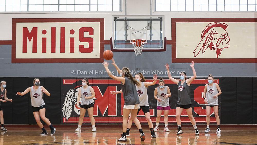 Millis girls varsity basketball practice at Millis High School on Jan. 02, 2021.