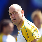 Nathan Sharpe, Australia, training during the Australian team's Captain's run at Eden Park in preparation for the third against fourth play off match with Wales at the IRB Rugby World Cup tournament, Auckland, New Zealand. 20th October 2011. Photo Tim Clayton...