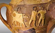 Hüseyindede vases, Old Hittite Polychrome Relief vessel, close up depicting a bull being led to be sacrificed, following Hittite convention of sacrificing an animal of the same gender as the God this bull indicates the sacrifice is to a male god, 16th century BC.. Çorum Archaeological Museum, Corum, Turkey .<br /> <br /> If you prefer to buy from our ALAMY STOCK LIBRARY page at https://www.alamy.com/portfolio/paul-williams-funkystock/hittite-art-antiquities.html  - Huseyindede into the LOWER SEARCH WITHIN GALLERY box. Refine search by adding background colour, place, museum etc<br /> <br /> Visit our HITTITE PHOTO COLLECTIONS for more photos to download or buy as wall art prints https://funkystock.photoshelter.com/gallery-collection/The-Hittites-Art-Artefacts-Antiquities-Historic-Sites-Pictures-Images-of/C0000NUBSMhSc3Oo