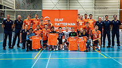Teamphoto with Orange team, Luca, Tim, Luuc and Floor after during the Olaf Ratterman Memorial match between Netherlands vs. Eredivisie All Star team on May 03, 2021 in Barneveld.