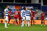 Football - 2019 / 2020 Sky Bet (EFL) Championship - Queens Park Rangers vs. Fulham<br /> <br /> Queens Park Rangers' Yoann Barbet dejected as Fulham's Cyrus Christie scores his side's second goal, at Kiyan Prince Foundation Stadium (Loftus Road).<br /> <br /> COLORSPORT/ASHLEY WESTERN