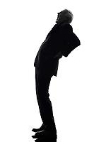 One Caucasian Senior Business Man backache pain Silhouette White Background