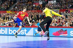 16.01.2016, Hala Stulecia, Breslau, POL, EHF Euro 2016, Spanien vs Deutschland, Gruppe C, im Bild Viran Morros de Argila (Nr. 24, FC Barcelona) im Konter gegen Carsten Lichtlein (Nr. 16, VfL Gummersbach) // during the 2016 EHF Euro group C match between Spain and Germany at the Hala Stulecia in Breslau, Poland on 2016/01/16. EXPA Pictures © 2016, PhotoCredit: EXPA/ Eibner-Pressefoto/ Koenig<br /> <br /> *****ATTENTION - OUT of GER*****