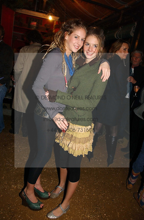 Left to right, sisters LARA BOGLIONE and RUBY BOGLIONE at a party to celebrate the publication on 'A Year in My Kitchen' by Skye Gyngell held at The Petersham Nurseries, Petesham, Surrey on 19th October 2006.<br /><br />NON EXCLUSIVE - WORLD RIGHTS