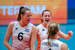 Marije ten Brinke of Netherlands, Kim Klein Lankhorst of Netherlands celebrate during United States - Netherlands, FIVB U20 Women's World Championship on July 15, 2021 in Rotterdam