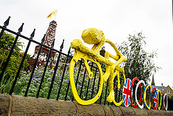 Tour de France themed decoration and a model of the Eiffel Tower on the Stage 1 route in Burley in Wharfedale - Photo mandatory by-line: Rogan Thomson/JMP - 07966 386802 - 04/07/2014 - SPORT - CYCLING - Yorkshire - Le Tour de France Grand Depart Previews.