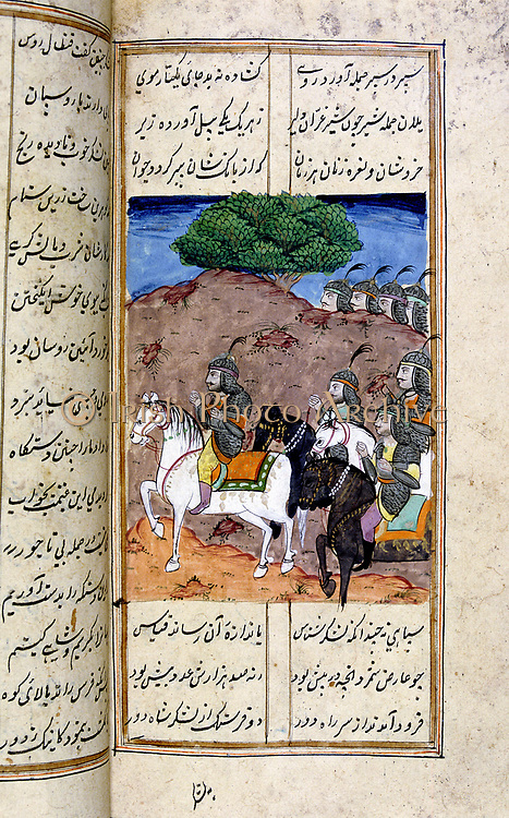 Alexander the Great (356-323 BC). 18th century Persian manuscript in Islamic style illustrating the12th century Persian poet Nezami 'Book of Alexander the Great' (Eskandar-nameh).   The legend of Alexander was told and retold in Islamic art and literature from Southern Russia to the gates of India.