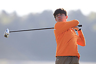 Jimmy Monaghan (Co. Sligo) on the 2nd tee during Round 2 of the Ulster Boys Championship at Donegal Golf Club, Murvagh, Donegal, Co Donegal on Thursday 25th April 2019.<br /> Picture:  Thos Caffrey / www.golffile.ie