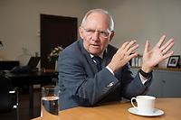 23 FEB 2016, BERLIN/GERMANY:<br /> Wolfgang Schaeuble, CDU, Bundesfinanzminister, waehrend einem Interview, in seinem Buero, Bundesministerium der Finanzen<br /> IMAGE: 20160223-01-004<br /> KEYWORDS: Wolfgang Schäuble
